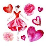 Reeks van geïsoleerde waterverfballerina in een rode scharlaken kleding, rozen, harten royalty-vrije illustratie