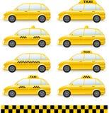 Reeks van geïsoleerdee taxiauto Royalty-vrije Stock Foto's
