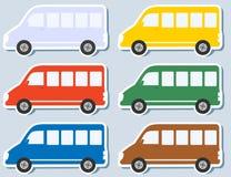 Reeks van geïsoleerdel minibus Stock Afbeelding