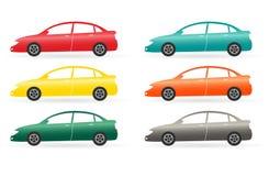 Reeks van geïsoleerden moderne kleurrijke auto Stock Afbeelding