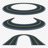 Reeks van gebogen asfaltweg in perspectief Wegpictogrammen stock illustratie