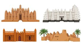 Reeks van gebouwen Afrikaanse architectuur stock illustratie