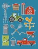 Reeks van 11 gedetailleerde illustraties van het landbouwbedrijfpictogram Stock Foto's