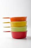 Reeks van gekleurd cookware Stock Foto