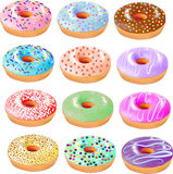 Reeks van gekleurd donuts met suikerglazuur en verschillend gruis stock illustratie