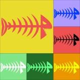 Reeks van gekleurd vissenskelet Stock Afbeelding