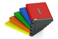 Reeks van gekleurde Externe HDD Stock Afbeeldingen