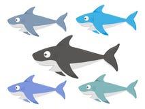 Reeks van gekleurde haaiillustratie stock illustratie