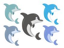 Reeks van gekleurde haaiillustratie vector illustratie