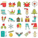 Reeks van 25 gekleurde Kerstmispictogrammen Stock Afbeelding