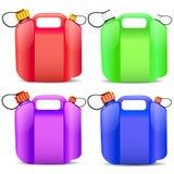 Reeks van gekleurde plastic benzinecontainer Royalty-vrije Stock Afbeelding
