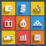 Reeks van 9 geldweb en mobiele pictogrammen. Vector. Stock Foto
