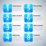 Reeks van 8 genummerde banners met verschillende opties Stock Fotografie