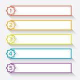 Reeks van 5 genummerde document stijlkopballen met ster Stock Afbeelding