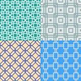 Reeks van Geometrisch Abstract naadloos patroon Versie met steekproeftekst Royalty-vrije Stock Afbeelding