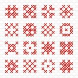 Reeks van geometrisch dwars stikkend element Royalty-vrije Stock Foto's