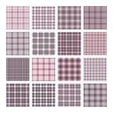 Reeks van 16 geruit Schots wollen stof naadloze vectorpatronen Geruite plaidtextuur Geometrische vierkante achtergrond voor stof vector illustratie