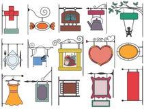 Reeks van gestileerd uithangbord in de stijl van Europa stock illustratie