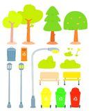Reeks van gestileerde boom stock illustratie