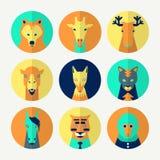 Reeks van gestileerde dierlijke avatar Royalty-vrije Stock Fotografie