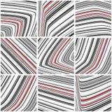 Reeks van gestreept patroon met zwart-witte en rode dunne stroken Stock Fotografie
