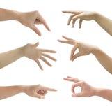 Reeks van gesturing van handen geïsoleerd op wit Royalty-vrije Stock Fotografie