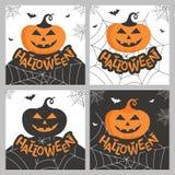 Reeks van getrokken de typografieaffiche van Halloween hand of groetkaart Royalty-vrije Stock Afbeeldingen