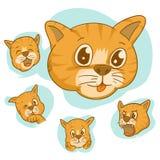 Reeks van gezichts vector leuke kat, de verschillende Aanbiddelijke Gezichten van Beeldverhaalkatten royalty-vrije illustratie