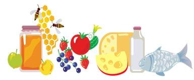 Reeks van gezond voedsel vector illustratie