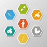 Reeks van gezondheid en medisch met materiaal Stock Afbeelding