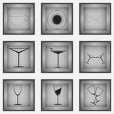 Reeks van 9 glaspictogrammen Royalty-vrije Stock Foto's