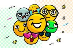 Reeks van glimlach emoticons stock illustratie