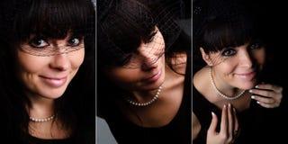 Reeks van glimlachende mooie vrouw. royalty-vrije stock foto's