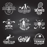 Reeks van Golfclub, het concept van de Tennisclub Vector illustratie vector illustratie