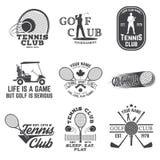 Reeks van Golfclub, het concept van de Tennisclub Vector illustratie royalty-vrije illustratie