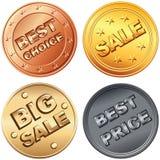 Reeks van goud, zilver, bronsprijskaartjes en verkoop Royalty-vrije Stock Afbeelding