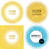 Reeks van 4 gouden abstracte achtergronden Stock Afbeelding