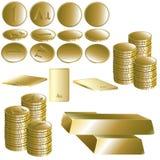 Reeks van gouden muntstuk en baar Royalty-vrije Stock Foto's