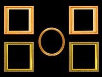 Reeks van gouden uitstekend die kader op zwarte achtergrond wordt geïsoleerd Royalty-vrije Stock Afbeeldingen