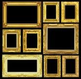 Reeks van gouden uitstekend die kader op zwarte achtergrond wordt geïsoleerd Stock Afbeeldingen