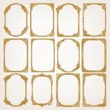Reeks van gouden uitstekend frame Stock Foto's