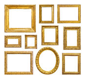 Reeks van gouden uitstekend frame stock afbeelding