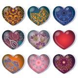 Reeks van gradiënthart voor de dag van de valentijnskaart Stock Afbeeldingen