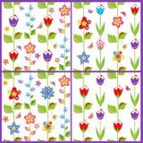Reeks van grappig de lente bloemenbehang stock illustratie