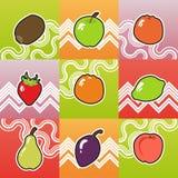 Reeks van grappig fruit Royalty-vrije Stock Afbeeldingen