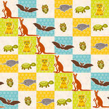 Reeks van grappig van de de schildpaduil van de dierenknuppel van de de tijgerkangoeroe de narwal naadloos patroon Stipachtergron Royalty-vrije Stock Foto's