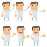 Reeks van grappige beeldverhaal arts stock illustratie