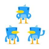 Reeks van grappige beeldverhaal blauwe vogel Stock Afbeelding