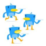 Reeks van grappige beeldverhaal blauwe vogel Royalty-vrije Stock Afbeelding
