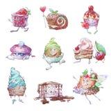 Reeks van grappige Cupcakes royalty-vrije illustratie